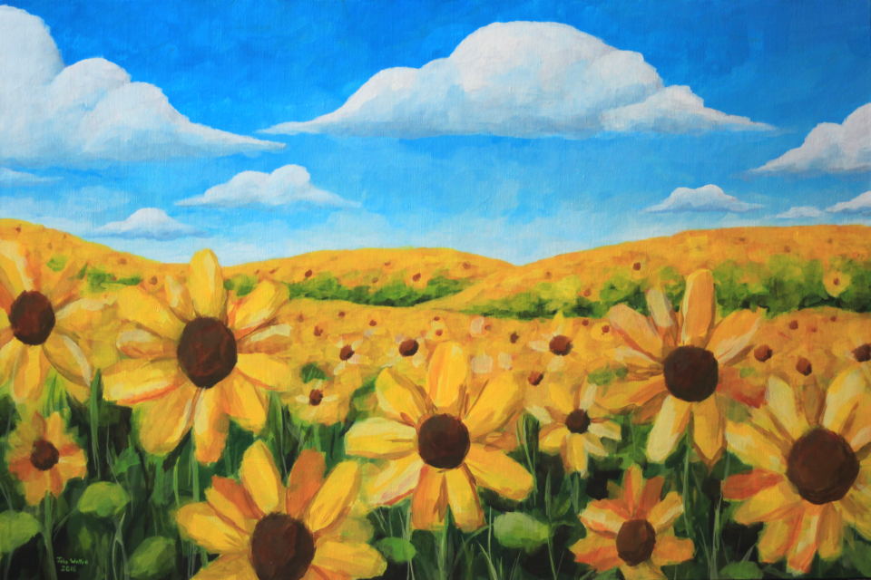 impressionist painting of a sunflower field