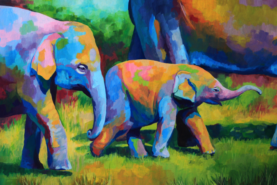 acrylic painting of a young elephant