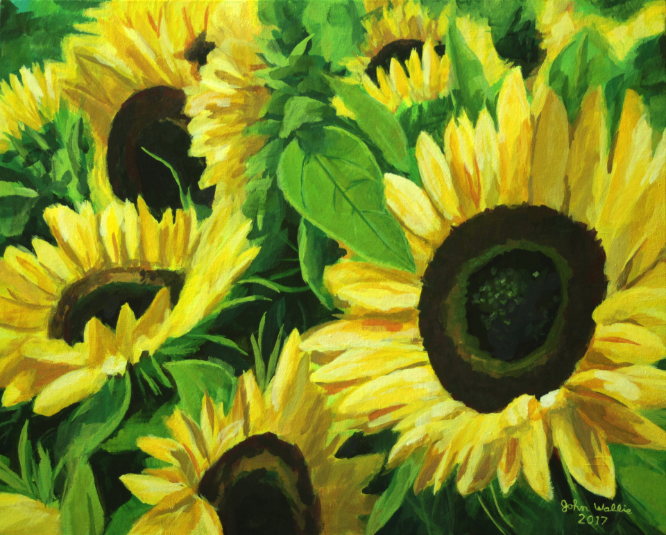 semi-abstract sunflower painting